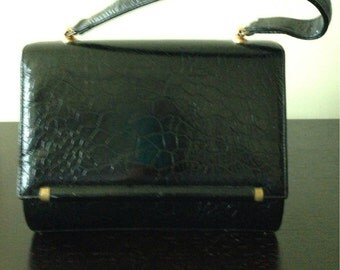 Vintage Toche Black Handbag  / 1960s Handbag