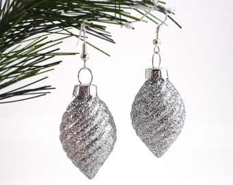 Clearance - Large Glittery Silver Holiday Earrings, Christmas Gift, Holiday Gift, Up-cycled Ornament Earrings, Ready to Ship