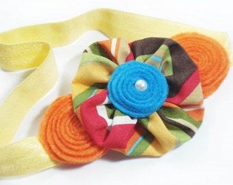 Baby Headband, Newborn Headband, Infant Headband, Fabric Flower Blue Orange Felt Rosettes, Small Pearl, Spring Summer Headband, Baby Easter