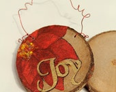 christmas ornament - wood cookie 'joy' with poinsettia and bead accent