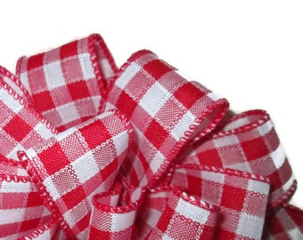 "Red Gingham Wire Ribbon... 1.5"" X 3 yards"