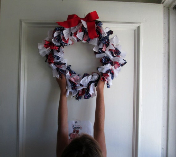 Red White and Blue Rag Wreath