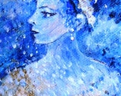 She sings the Blues -    Original Acrylic on chunky  box canvas  6 x 6 inches -   SALE