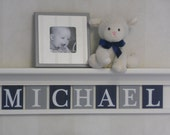 Navy and Gray Nursery Wall Shelving - Baby Boy Nursery Wall Art - White or Off White Shelve - Painted Wall Tile Letters