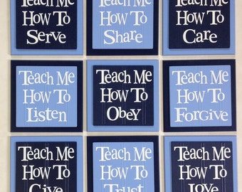 TEACH ME Signs: How To Love, Listen, Care, Trust, Obey, Share, Give, Forgive, Serve - Set of 9 - Navy & Blue - Nursery Wooden Wall Decor Art