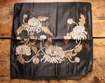 Vintage Hand Painted Black Silk Floral Pillow Cover