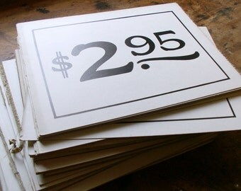 Vintage General Store Price Signs - Black and White Graphics - Great Table Numbers for your Wedding!