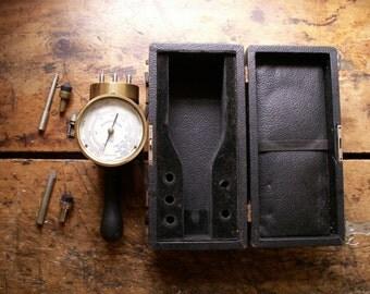 Vintage Industrial Brass Gauge in Original Case by Manning Maxwell & Moore