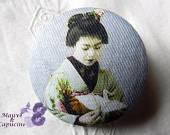 Button fabric, printed  Japanese woman
