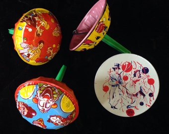 Vintage Tin Litho Noisemakers - 4 US Metal Toy - New Year's Eve