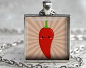 Pepper Kawaii Necklace - Hot Pepper Charm - Free Chain or Keyring (603)
