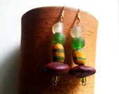 ZUNGBO African grren yellow clear recycled glass krobo Ntama Coumba seed earrings by Fianaturals