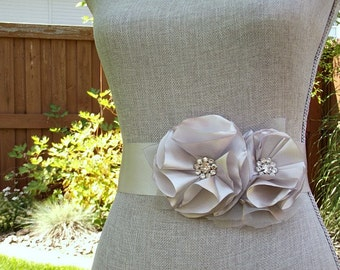 Silver Bridal Sash, Grey Wedding Sash, Silver Wedding Belt, Silver Bridal Belt -Silver Flowers
