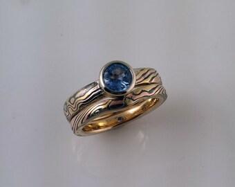 Mokume Gane bridal wedding set full bezel setting solitaire blue sapphire with band red gold