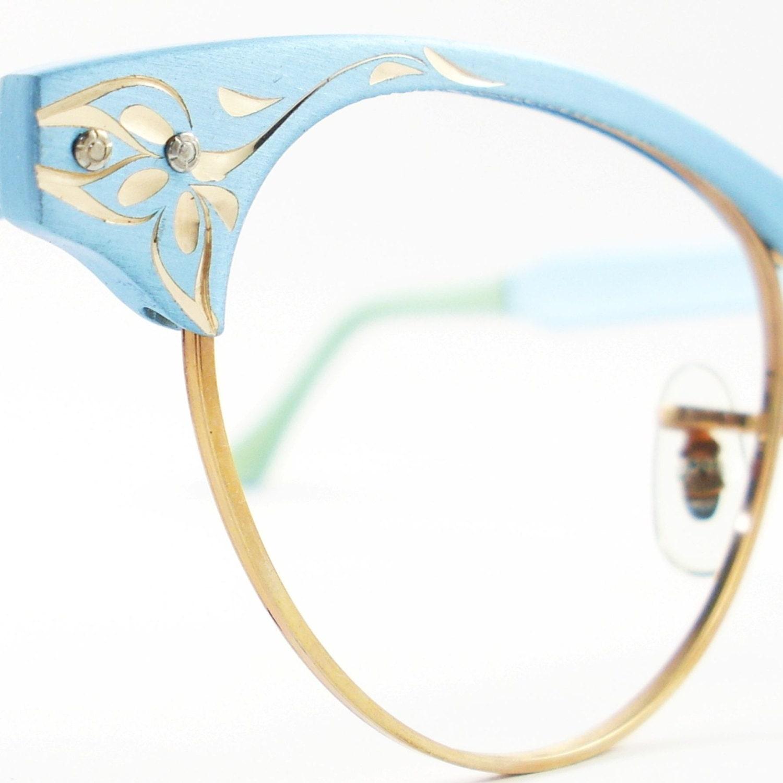 Vintage Frame Prescription Glasses : Vintage Cat Eye Glasses Eyeglasses Sunglasses Frame Blue
