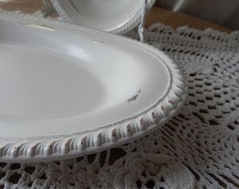 White Serving Tray - Wedding Tray - Shabby Party Tray - Painted Tray - Display Tray - Silver to White Tray