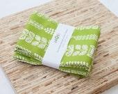 Large ORGANIC Cloth Napkins - Set of 4 - (N2221) - Green Vines Modern Reusable Fabric Napkins