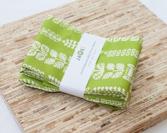 Large ORGANIC Cloth Napkins - Set of 4 - (N2221) - Green Vines Modern Reusable Fabric Napkins