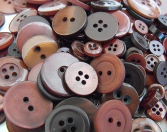 Bittersweet Brown Buttons, 100 Bulk Assorted Round Multi Size Crafting Sewing Buttons