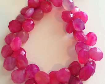 Pink Chalcedony Faceted Briolettes-10x10mm