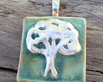 Oak Tree Pendant in green with silver