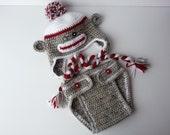 Crochet Sock Monkey Earflap Hat & Diaper Cover-Baby Photography Prop-Infant Monkey Set-Preemie Sock Monkey-Toddler Monkey-Baby Monkey Hat
