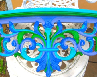 TAKE 20% OFF Royal Blue Turquiose & Green Retro Wall or Garden Fence SHELF Hand Painted