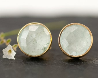 Aquamarine Stud Earrings - March Birthstone Studs - Gemstone Studs - Round Studs - Gold Stud Earrings - Post Earrings