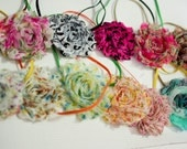Floral Patterned Colored Shabby Flower Headband--Newborn-6months Baby Photography Prop >> CHOOSE ONE