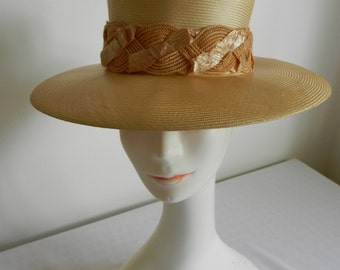 Vintage Straw Hat with Cellophane Straw Trim and Velvet Bow by Winner