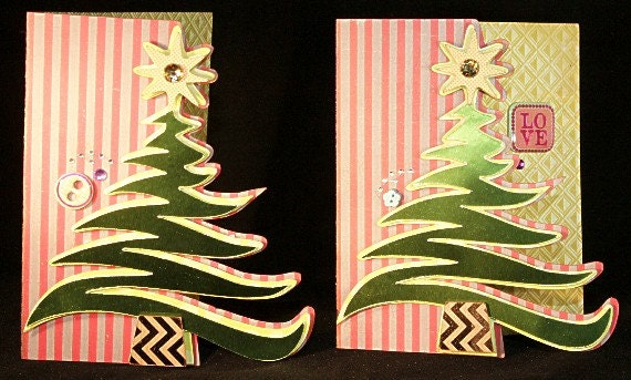 Swirly Christmas Tree Card 3D SVG Cutting File Kit