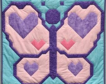 Heart Butterfly Baby Girl Quilt Pattern - PDF