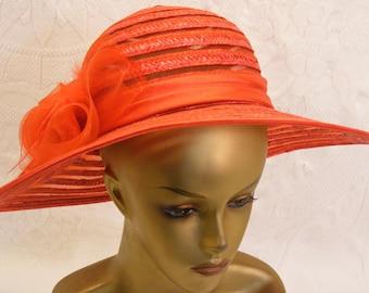 Sunhat / Chapeau in Bright Hot Coral Orange
