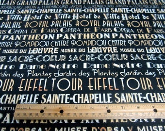 I Dream of Paris Words on Black  cotton quilting fabric by Windham -  eiffel tower