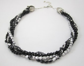 Shop Closing Sale, Black and Gunmetal Faceted Oval Necklace for Multi Strand Interchangeable Collection 5x7