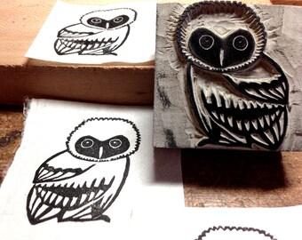 "Owl Stamp - Hand Carved Linoleum 2""x2"" - Made to Order"