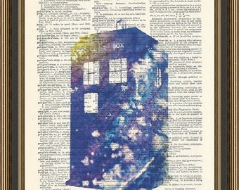 Doctor Who Tardis watercolor illustration is printed on a vintage dictionary page. Dorm Decor,  Science Fiction Print, Dr Who Poster