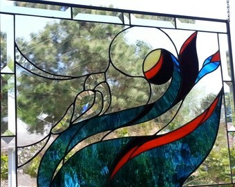 Beveled Stained Glass Panel - Bird in Mythical Forest - Original - OOAK