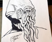 Doctor Who Alien, 'The Ood'  - Original Ink Drawing INKtober Drawing #22 9x12