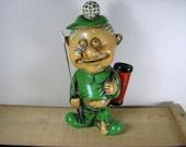 Vintage 70's Ceramic Golf Bank / Bar Ware Set Funny Golfer Gift