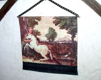 Maiden & Unicorn Tapestry, Dollhouse Miniature 1/12 Scale, Hand Made