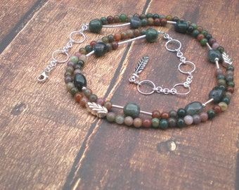 Seasons change beaded necklace, fancy jasper, moss agate, sterling silver, feather charm, one of a kind jewelry by Grey Girl Designs on Etsy