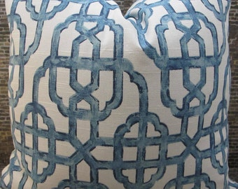 Designer Pillow Cover - Lumbar, 16 x 16, 18 x 18, 20 x 20, 22 x 22 - Imperial Lacefield Light Blue