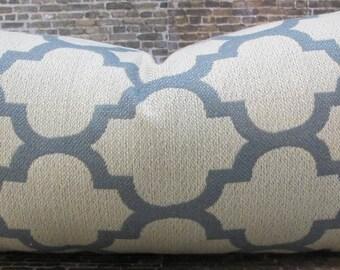 Designer Pillow Cover 10 x 20  Lattice Giselle Light Blue