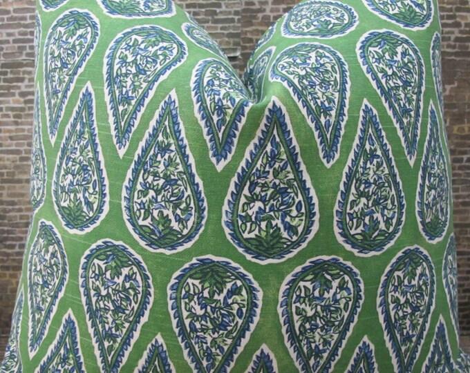 Designer Pillow Cover - Lumbar, 16 x 16, 18 x 18, 20 x 20, 22 x 22, Euro - Anya Paisley Kelly Green
