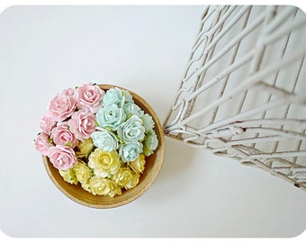 Millinery flowers heartshape Buds paper flower mixed pink, aqua and yellow color / pack