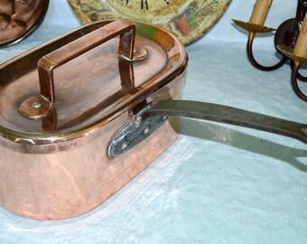 French antique Daubière braisière copper pots pans  professional casseroles en cuivre
