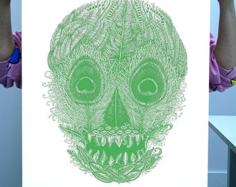 Emerald Green Feather Skull Limited Edition Screen Print