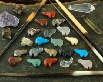 Fetish Totem Zuni Animal Beads / Assorted Gemstones / 25 pcs, 11x16mm / Bear, Buffalo, Whale / Tribal, Boho Jewelry Making, Craft Supplies