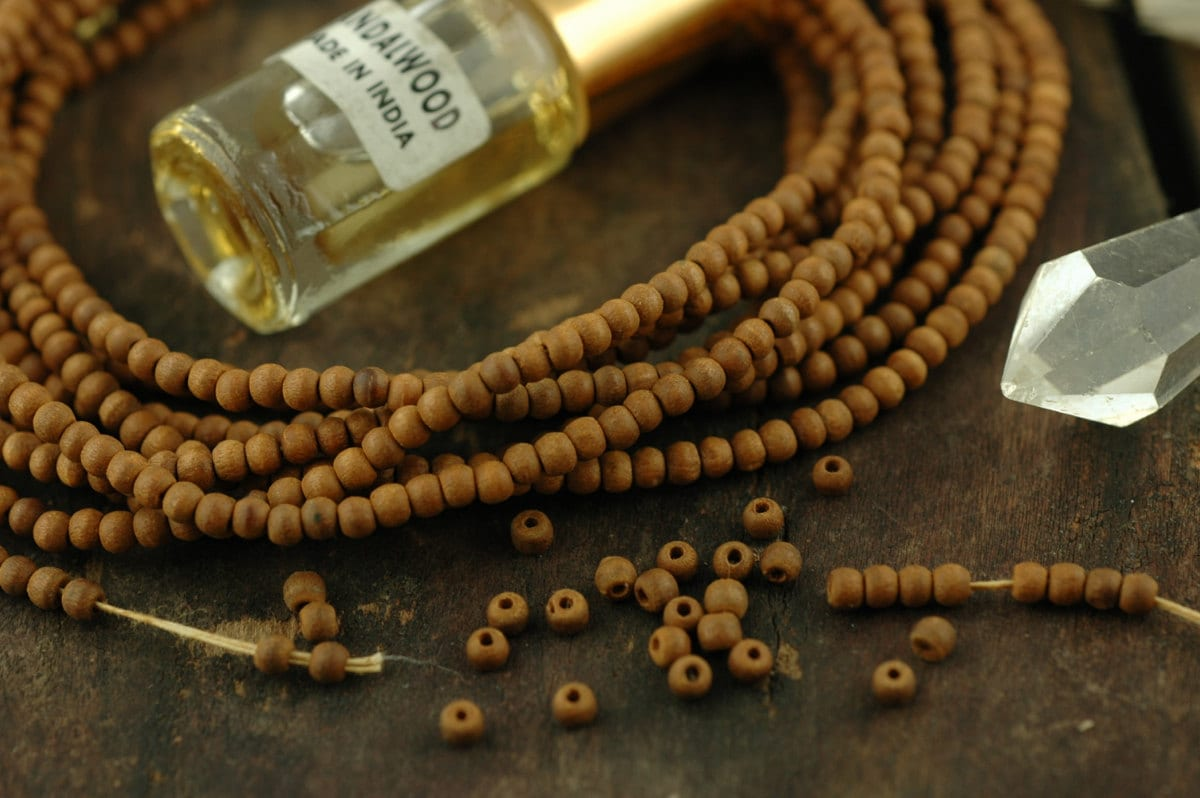 Aromatic 3mm sandalwood beads 108 beads natural indian for Craft and jewelry supplies